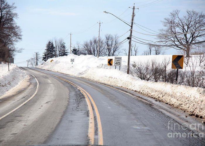Snowstorm Greeting Card featuring the Snow By The Roadside by Ted Kinsman
