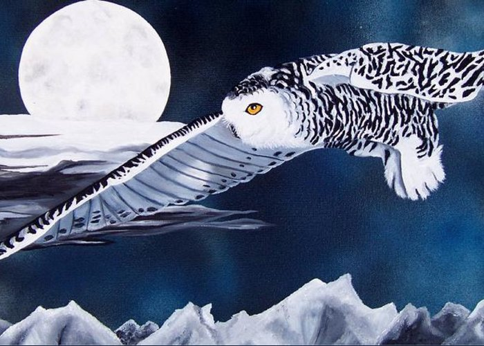 Owl Greeting Card featuring the painting Snowy Flight by Debbie LaFrance