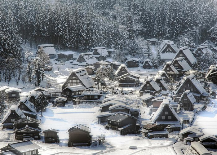 Snow Greeting Card featuring the photograph Snowy Village by Kean Poh Chua