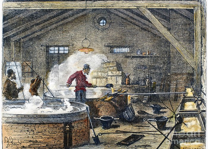 1870 Greeting Card featuring the photograph Soap Manufacture, C1870 by Granger