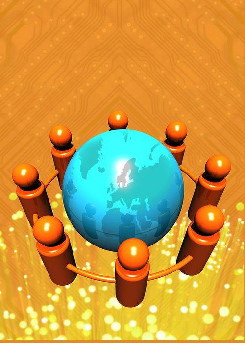 Planet Greeting Card featuring the photograph Social Networking, Conceptual Image by Victor Habbick Visions