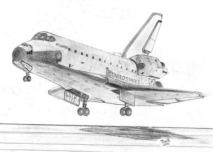 Atlantis Greeting Card featuring the drawing Space Shuttle Atlantis by Tibi K