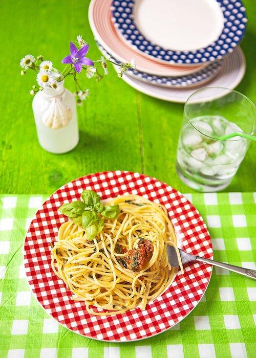 Pesto Greeting Card featuring the photograph Spaghetti Al Pesto by Joana Kruse
