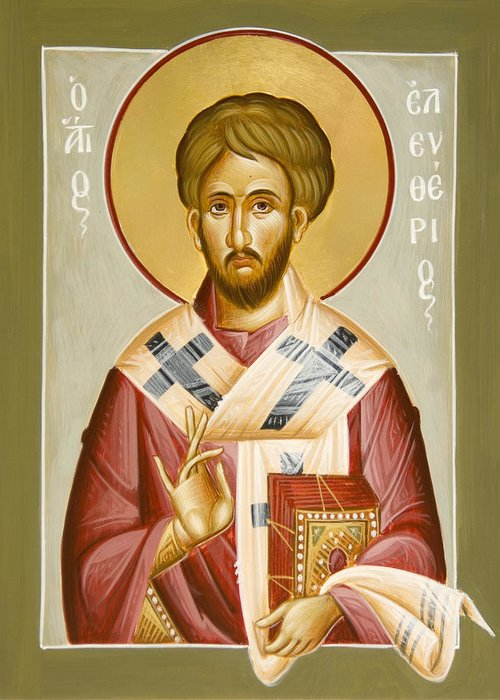 St Eleftherios Greeting Card featuring the painting St Eleftherios by Julia Bridget Hayes
