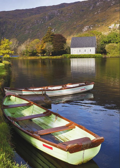 Building Greeting Card featuring the photograph St. Finbarres Oratory And Rowing Boats by Ken Welsh