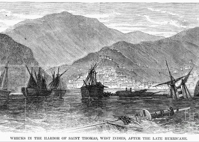 1867 Greeting Card featuring the photograph St. Thomas: Hurricane, 1867 by Granger