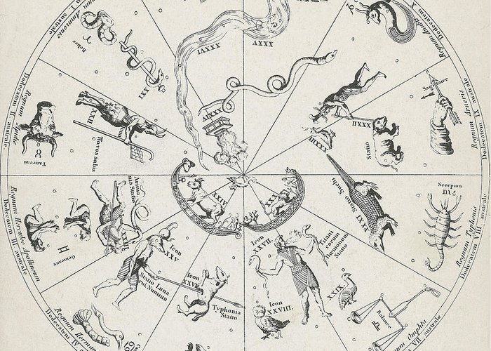 Historical Greeting Card featuring the photograph Star Map From Kirchers Oedipus by Science Source