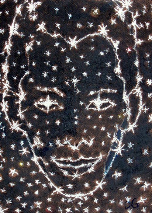 Stars Greeting Card featuring the pastel Starry Eyed by Dennis Goodbee