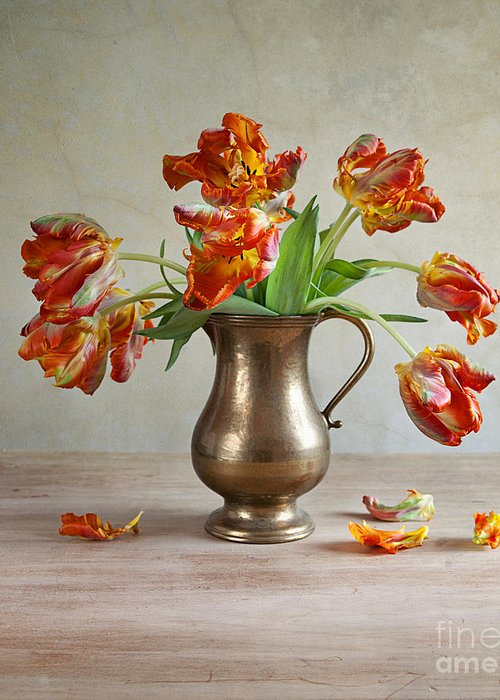Petals Greeting Card featuring the photograph Still Life With Tulips by Nailia Schwarz
