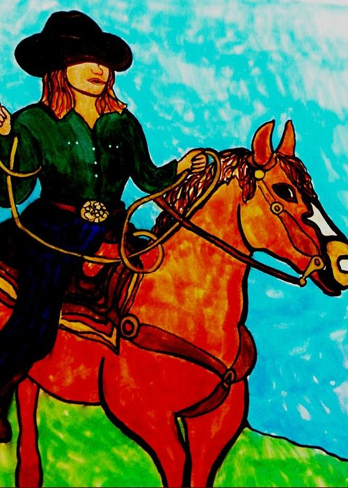 Cowgirl Greeting Card featuring the drawing Sunday Afternoon Cowgirl by Amy Carruth-Drum