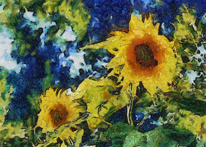 Sunflower Greeting Card featuring the photograph Sunflowers by Michelle Calkins