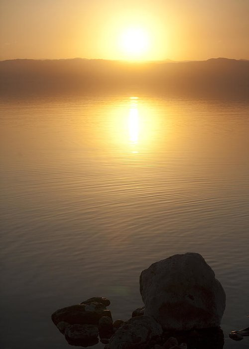 No People Greeting Card featuring the photograph Sunset Over The Dead Sea by Taylor S. Kennedy