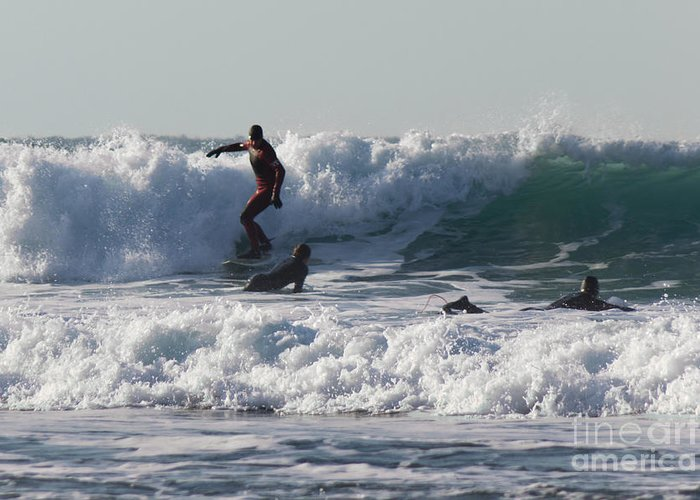 Cornish Seascape Greeting Card featuring the photograph Surfers At Porthtowan Cornwall by Brian Roscorla