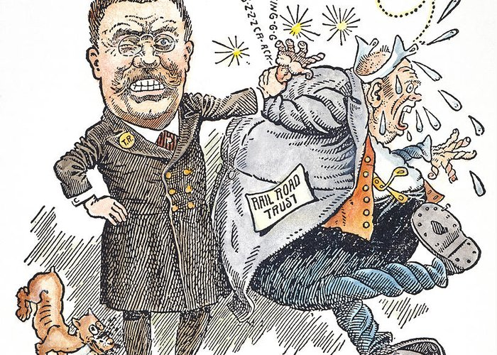 1906 Greeting Card featuring the photograph T. Roosevelt Cartoon by Granger