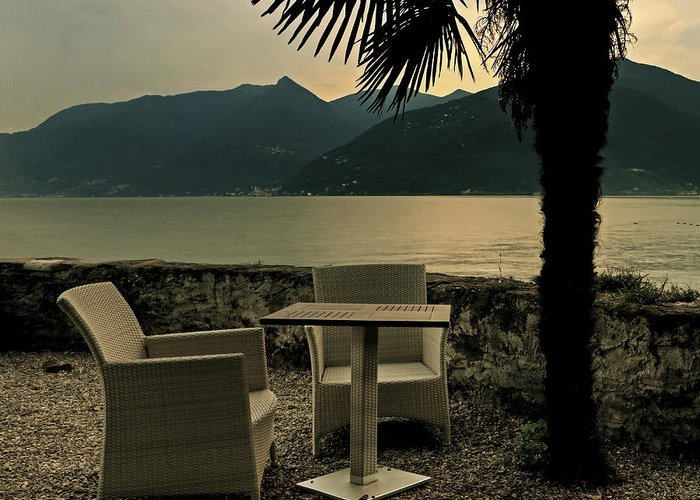 Lake Maggiore Greeting Card featuring the photograph Table And Chairs by Joana Kruse