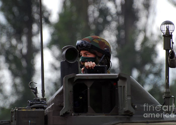 Adults Only Greeting Card featuring the photograph Tank Commander Of A Leopard 1a5 Mbt by Luc De Jaeger