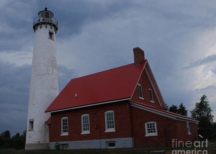 Lighthouse Greeting Card featuring the photograph Tawas Point Lighthouse by Grace Grogan