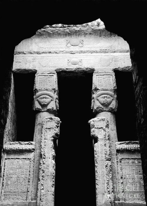 Temple Greeting Card featuring the photograph Temple Of Hathor by Photo Researchers, Inc.