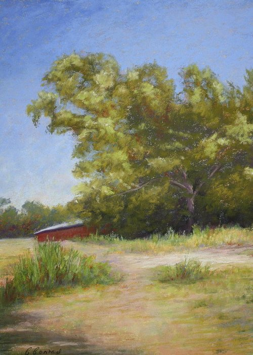 Tree Greeting Card featuring the pastel Tennessee Barn by Carol Conrad
