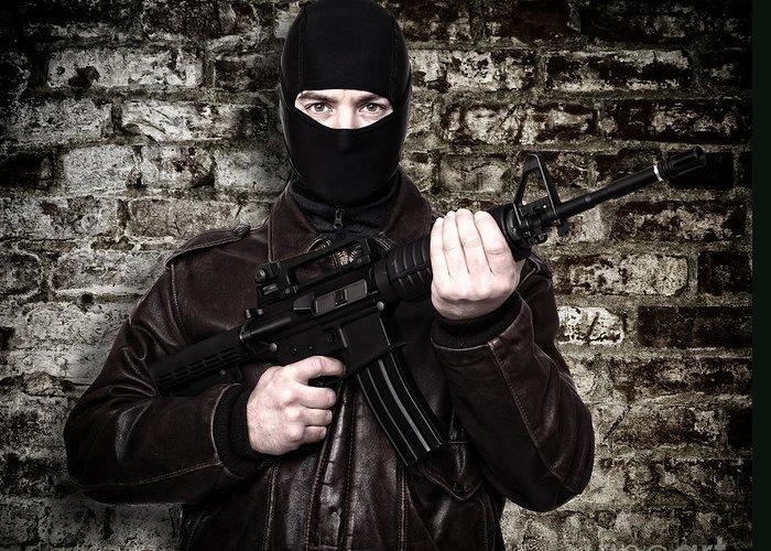 Terrorist Greeting Card featuring the photograph Terrorist Portrait by Gualtiero Boffi