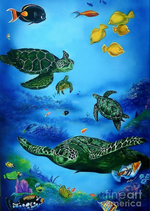 Turtles Greeting Card featuring the painting The Beauty Below by Kathleen Kelly Thompson