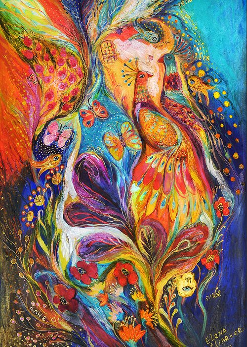 Original Greeting Card featuring the painting The Dance Of Butterflies by Elena Kotliarker