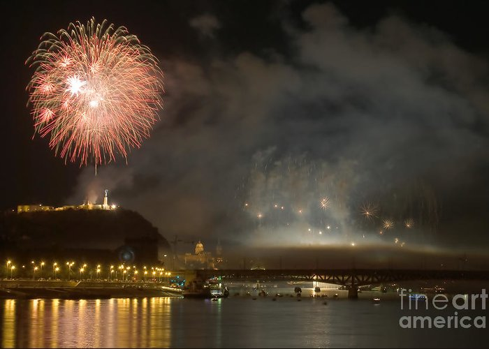 4th Greeting Card featuring the photograph The Firework by Odon Czintos