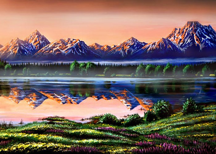 Grand Tetons Greeting Card featuring the photograph The Grand Tetons by Phil Koch