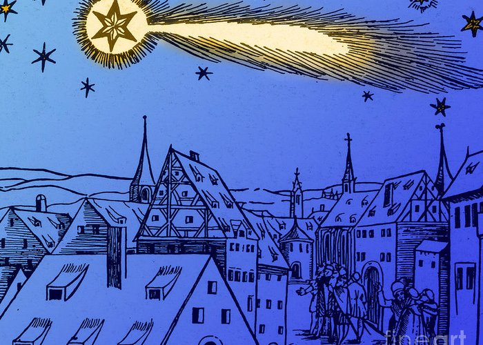Illustration Greeting Card featuring the photograph The Great Comet Of 1556 by Science Source