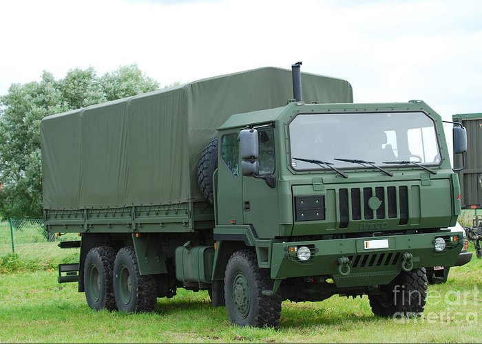 6x6 Greeting Card featuring the photograph The Iveco M250 8 Ton Truck by Luc De Jaeger