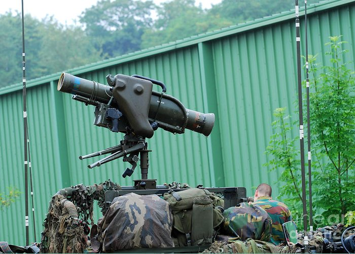 Military Greeting Card featuring the photograph The Milan, Guided Anti-tank Missile by Luc De Jaeger