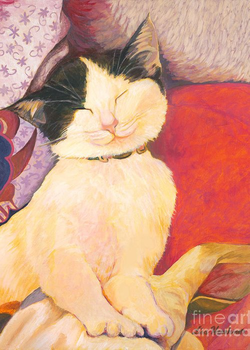 Cat Greeting Card featuring the painting The Perfect Nap by Lisa Hershman