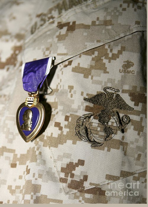 Camouflage Greeting Card featuring the photograph The Purple Heart Award by Stocktrek Images