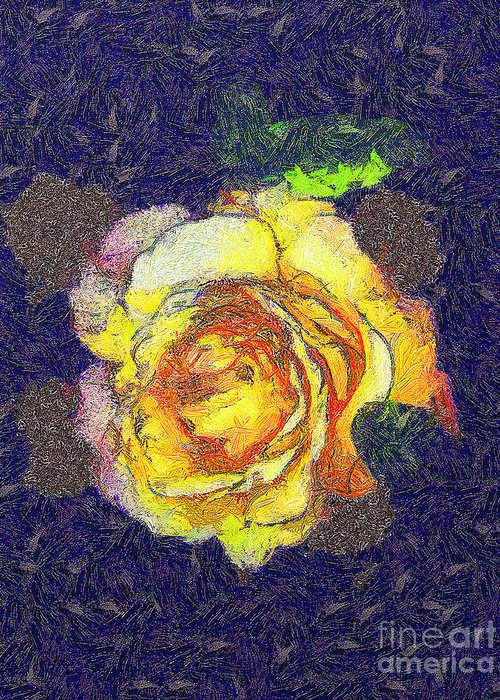 Odon Greeting Card featuring the painting The Rose by Odon Czintos