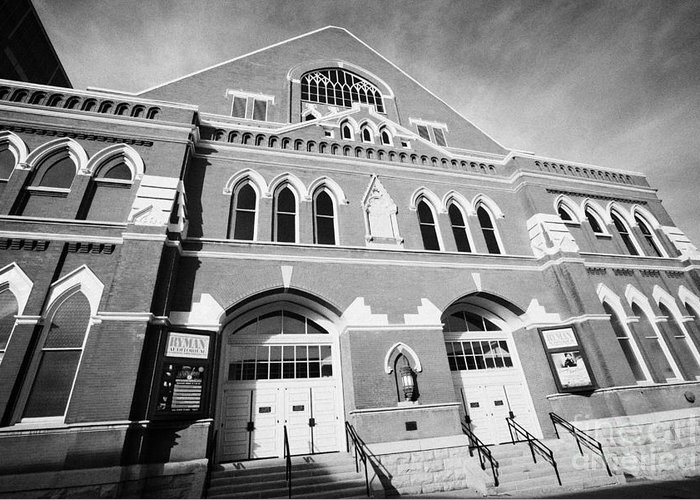 Ryman Greeting Card featuring the photograph The Ryman Auditorium Former Home Of The Grand Ole Opry And Gospel Union Tabernacle Nashville by Joe Fox