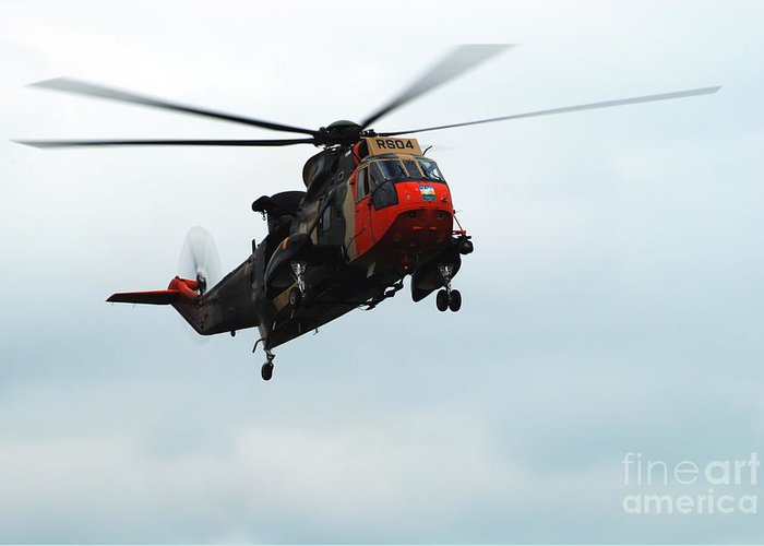 Air Component Greeting Card featuring the photograph The Sea King Helicopter In Use by Luc De Jaeger