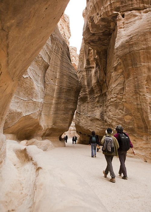 Petra Greeting Card featuring the photograph The Slot Canyons Leading Into Petra by Taylor S. Kennedy