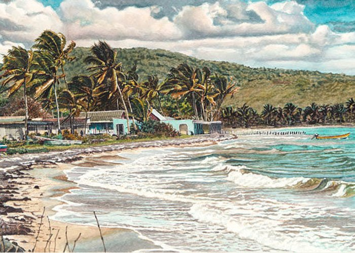 Scenery Greeting Card featuring the painting The Water Front  by Gregory Jules