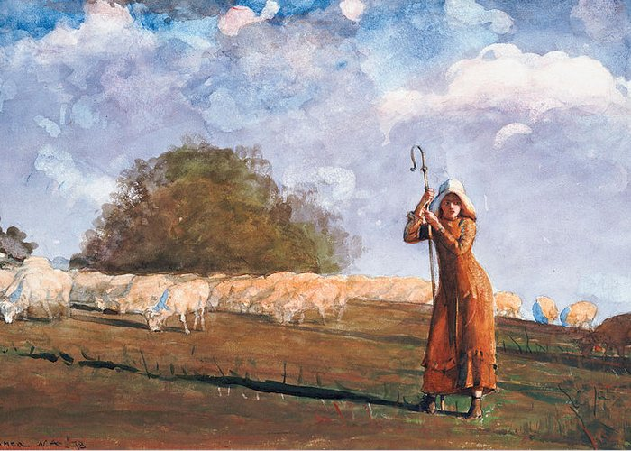 The Young Shepherdess Greeting Card featuring the painting The Young Shepherdess by Winslow Homer