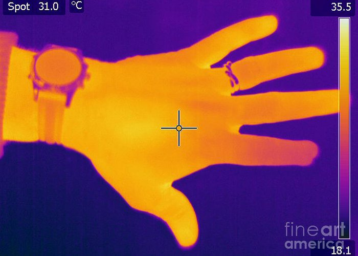 Thermogram Greeting Card featuring the photograph Thermogram Of A Hand by Ted Kinsman