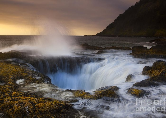 Coast Greeting Card featuring the photograph Thor's Well by Keith Kapple