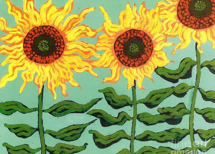 Sunflower Greeting Card featuring the painting Three Sunflowers by Genevieve Esson