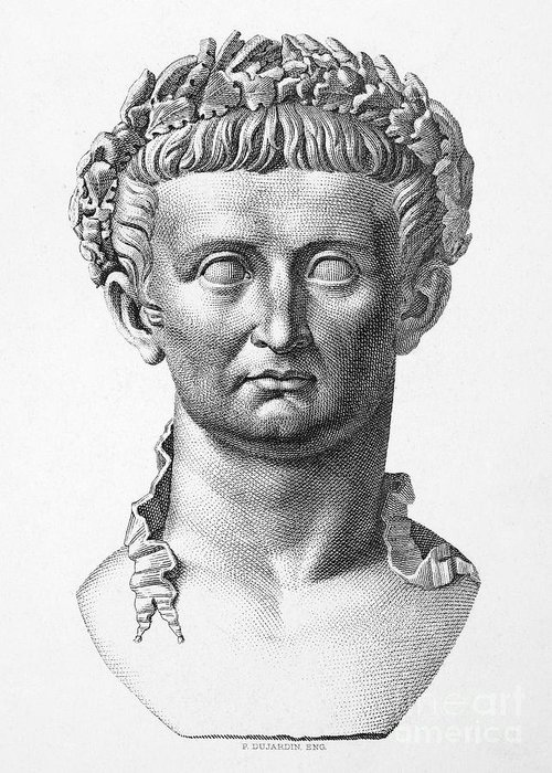 1st Century Greeting Card featuring the photograph Tiberius (42 B.c.- 37 A.d.) by Granger