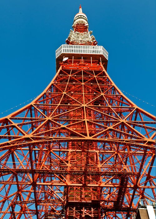 Architecture Greeting Card featuring the photograph Tokyo Tower Faces Blue Sky by U Schade