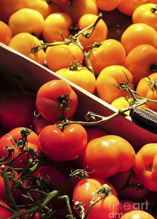 Tomato Greeting Card featuring the photograph Tomatoes On The Market by Elena Elisseeva