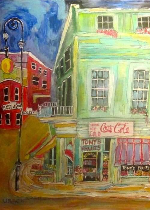 New York Streets Greeting Card featuring the painting Tony's Fruit Store by Michael Litvack