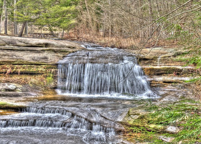 Forest Greeting Card featuring the photograph Top Of The Upper Falls by Shirley Tinkham