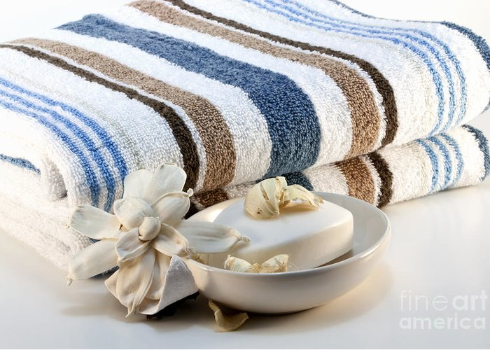 Striped Greeting Card featuring the photograph Towel With Soap by Blink Images