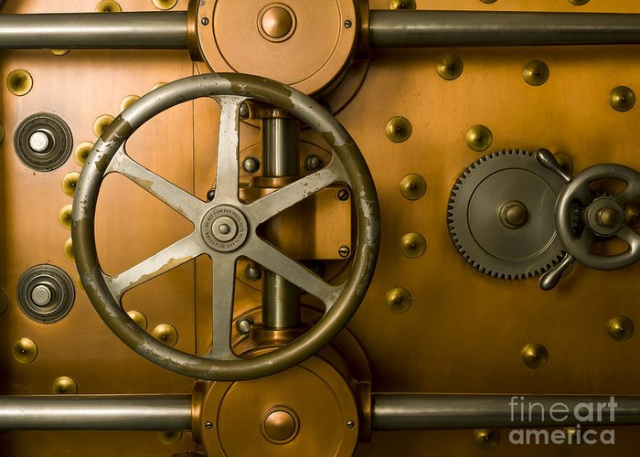 Architectural Greeting Card featuring the photograph Tumbler Bank Vault Door by Adam Crowley