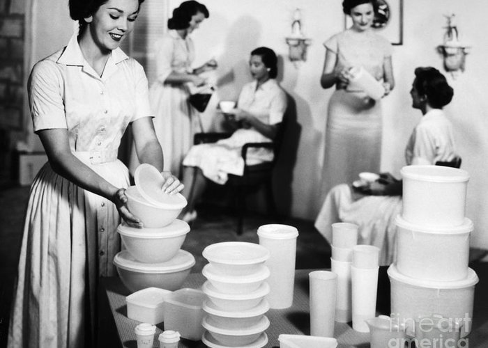 1950s Greeting Card featuring the photograph TUPPERWARE PARTY, 1950s by Granger